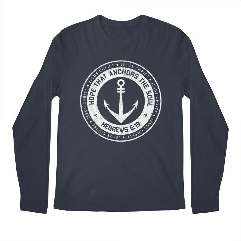 Hope Anchors the Soul - White Men's Regular Longsleeve T-Shirt by Light of the World Tees