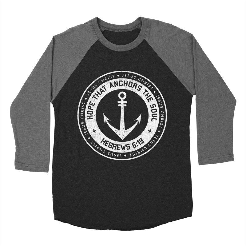 Hope Anchors the Soul - White Men's Baseball Triblend Longsleeve T-Shirt by Light of the World Tees