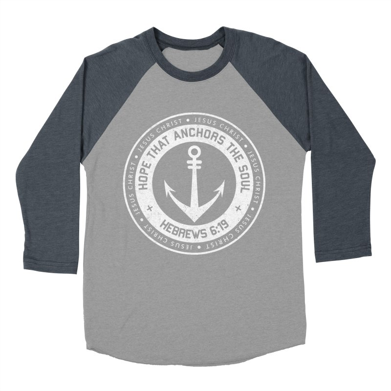 Hope Anchors the Soul - White Men's Baseball Triblend Longsleeve T-Shirt by Light of the World Tees