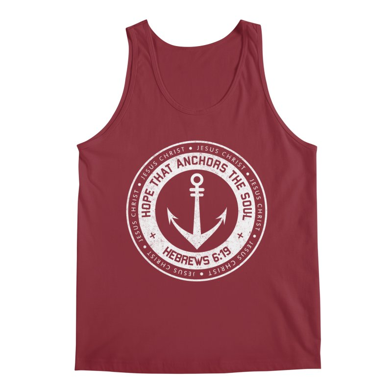 Hope Anchors the Soul - White Men's Tank by Light of the World Tees