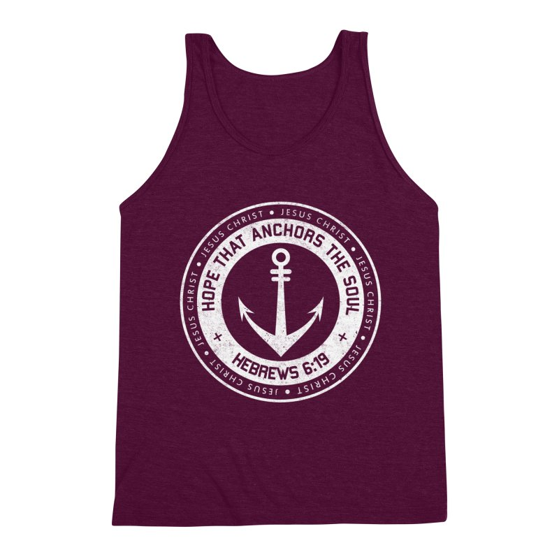 Hope Anchors the Soul - White Men's Triblend Tank by Light of the World Tees