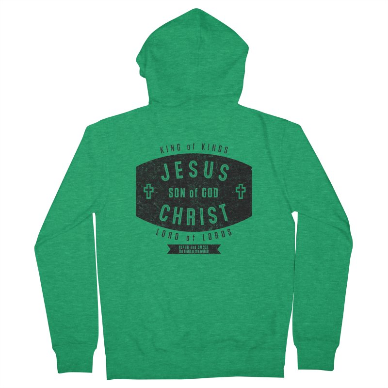 Jesus Christ, Son of God - King of Kings, Lord of Lords - Black Women's Zip-Up Hoody by Light of the World Tees