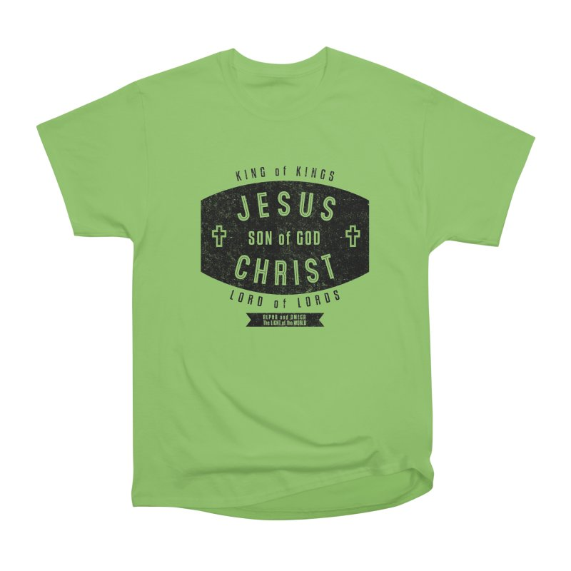 Jesus Christ, Son of God - King of Kings, Lord of Lords - Black Women's Heavyweight Unisex T-Shirt by Light of the World Tees