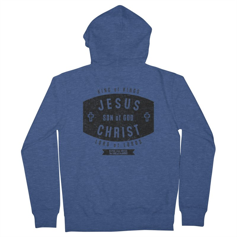 Jesus Christ, Son of God - King of Kings, Lord of Lords - Black Men's French Terry Zip-Up Hoody by Light of the World Tees