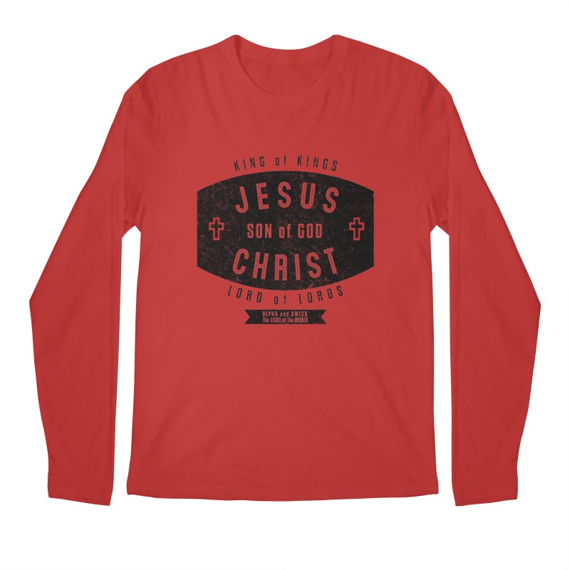 Jesus Christ, Son of God - King of Kings, Lord of Lords - Black Men's Regular Longsleeve T-Shirt by Light of the World Tees