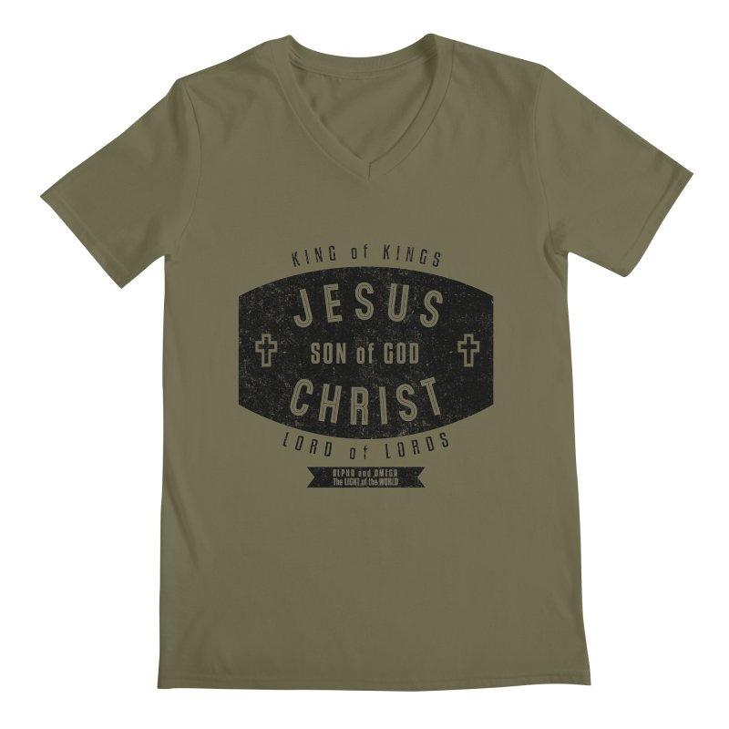 Jesus Christ, Son of God - King of Kings, Lord of Lords - Black Men's Regular V-Neck by Light of the World Tees