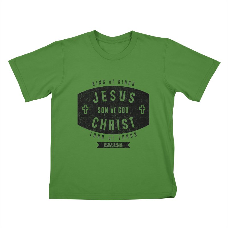 Jesus Christ, Son of God - King of Kings, Lord of Lords - Black Kids T-Shirt by Light of the World Tees
