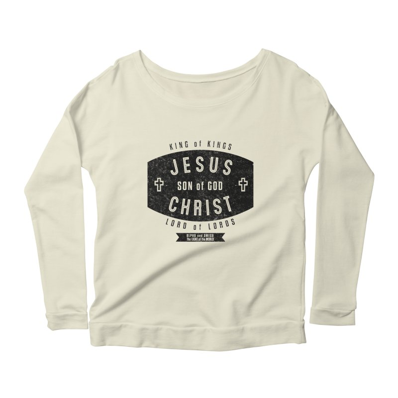 Jesus Christ, Son of God - King of Kings, Lord of Lords - Black Women's Longsleeve Scoopneck  by Light of the World Tees