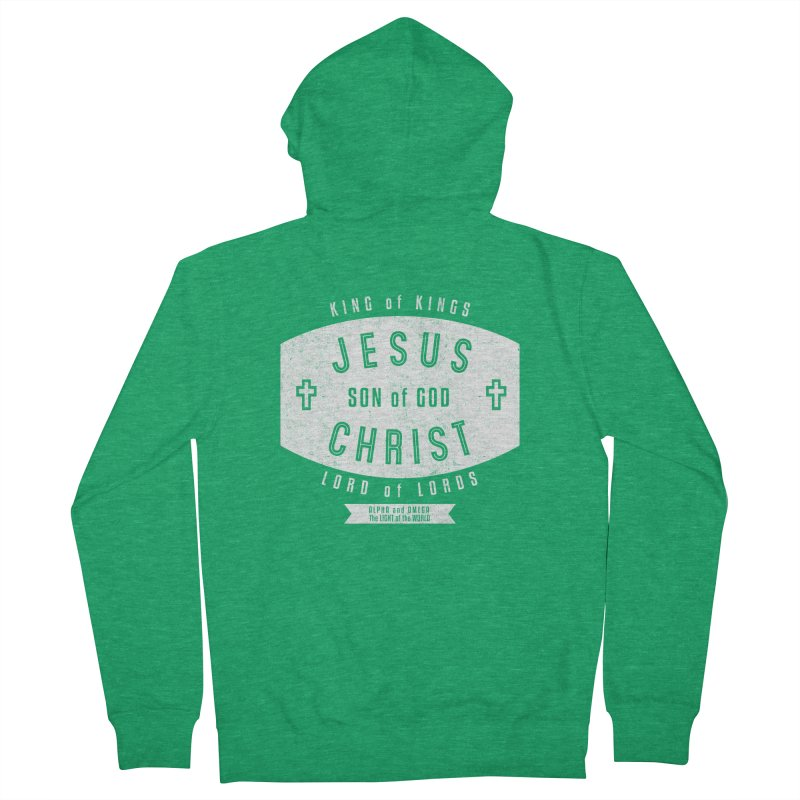 Jesus Christ, Son of God - King of Kings, Lord of Lords - White Men's Zip-Up Hoody by Light of the World Tees