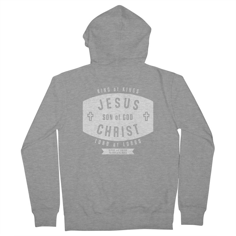 Jesus Christ, Son of God - King of Kings, Lord of Lords - White Men's French Terry Zip-Up Hoody by Light of the World Tees