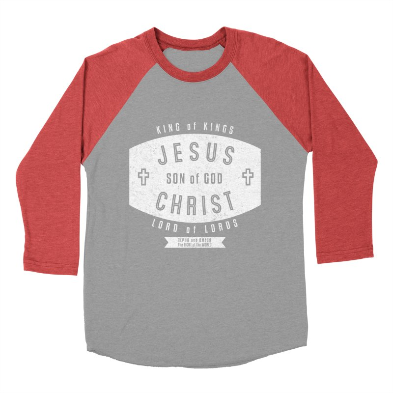 Jesus Christ, Son of God - King of Kings, Lord of Lords - White Women's Baseball Triblend Longsleeve T-Shirt by Light of the World Tees