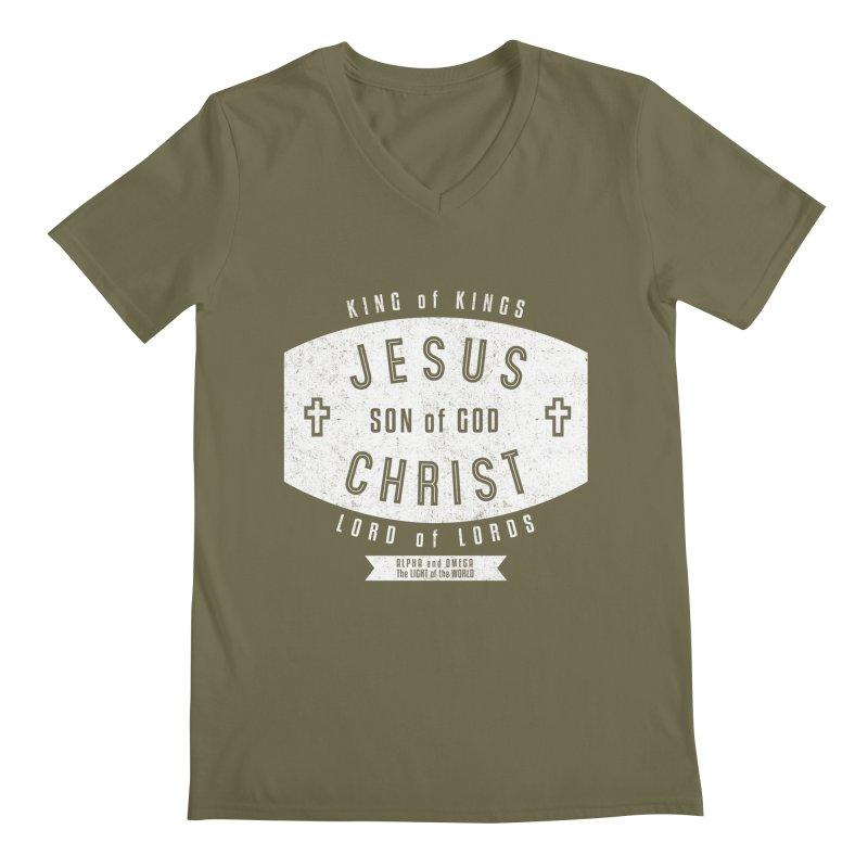 Jesus Christ, Son of God - King of Kings, Lord of Lords - White Men's Regular V-Neck by Light of the World Tees