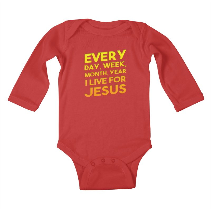 I Live For Jesus - Color Tees Kids Baby Longsleeve Bodysuit by Light of the World Tees