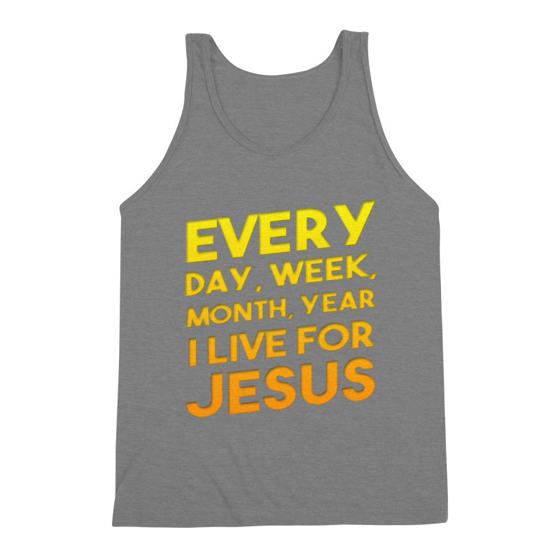 I Live For Jesus - Color Tees Men's Triblend Tank by Light of the World Tees