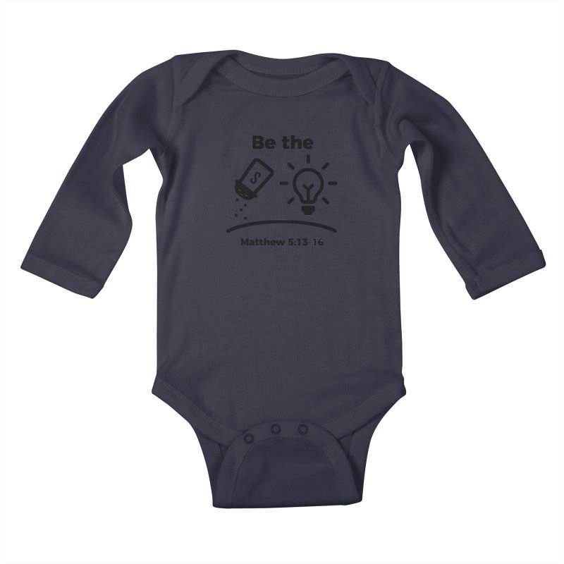 Salt and Light - Black Kids Baby Longsleeve Bodysuit by Light of the World Tees