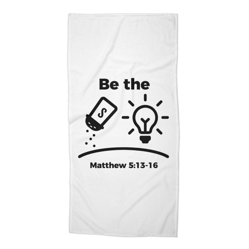 Salt and Light - Black Accessories Beach Towel by Light of the World Tees