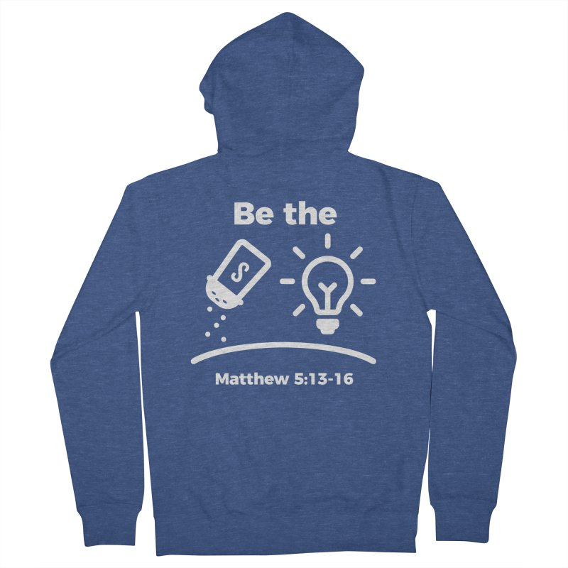 Be the Salt and Light - White Men's Zip-Up Hoody by Light of the World Tees
