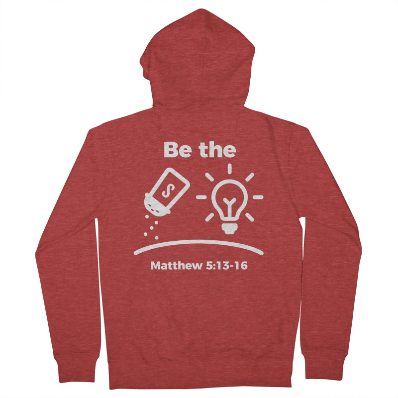 Be the Salt and Light - White Men's French Terry Zip-Up Hoody by Light of the World Tees