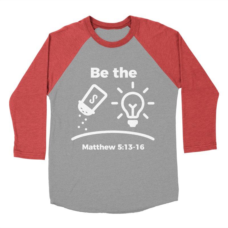 Be the Salt and Light - White Men's Baseball Triblend Longsleeve T-Shirt by Light of the World Tees
