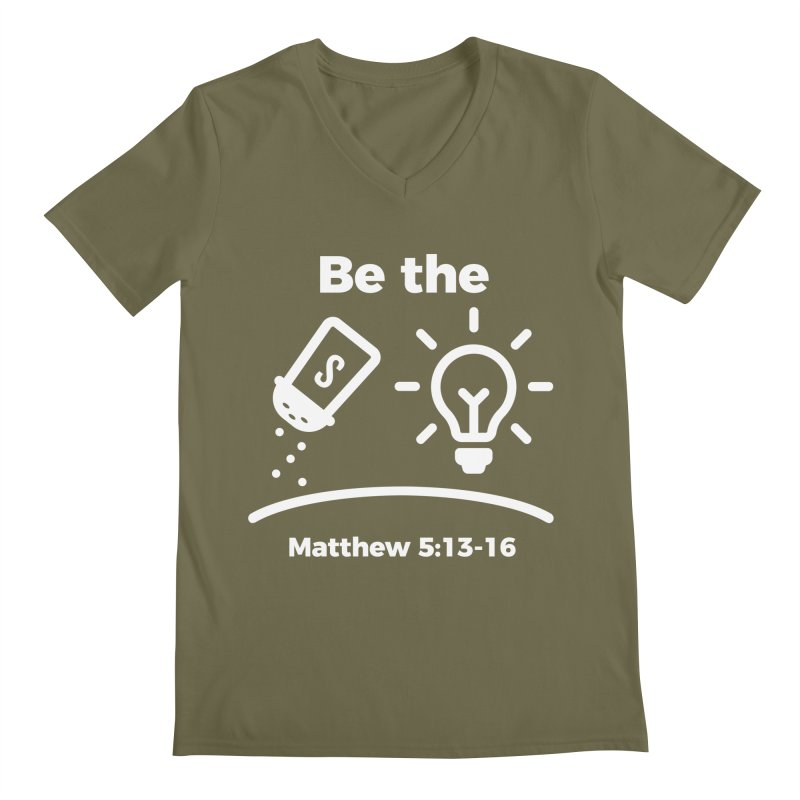 Be the Salt and Light - White Men's Regular V-Neck by Light of the World Tees