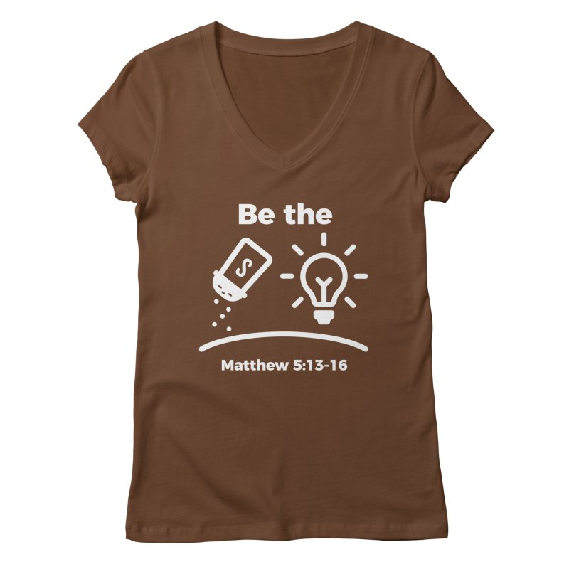 Be the Salt and Light - White Women's Regular V-Neck by Light of the World Tees