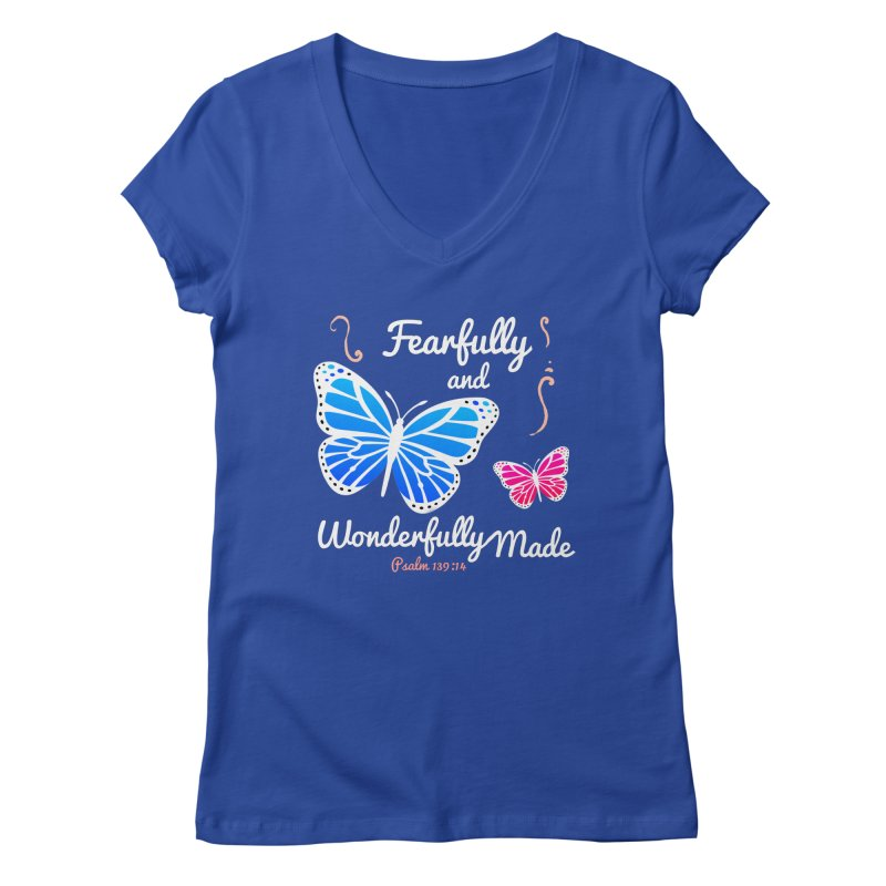 Fearfully and Wonderfully Made Women's Regular V-Neck by Light of the World Tees