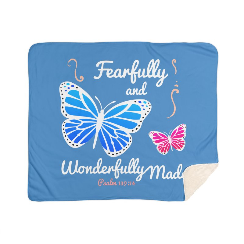 Fearfully and Wonderfully Made Home Sherpa Blanket Blanket by Light of the World Tees