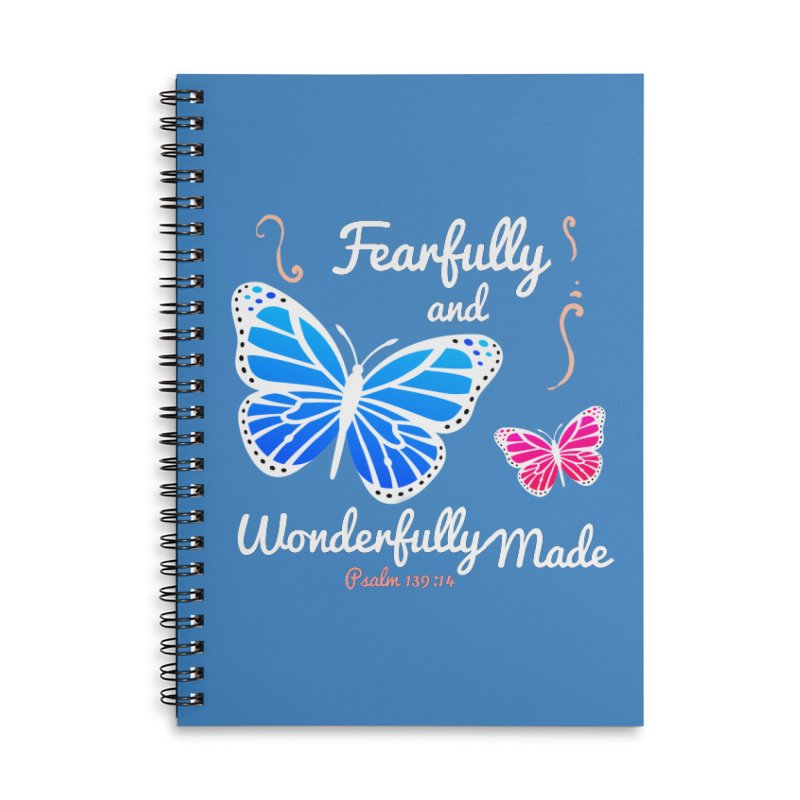 Fearfully and Wonderfully Made Accessories Lined Spiral Notebook by Light of the World Tees