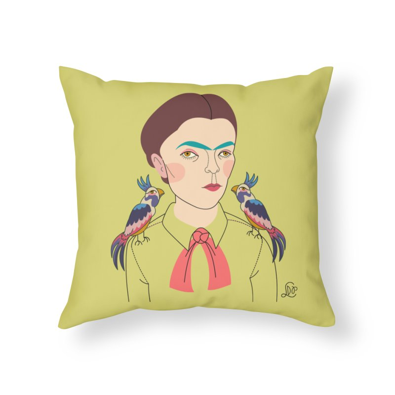 Young Frida and Bonito Home Throw Pillow by lilidiprima's Artist Shop