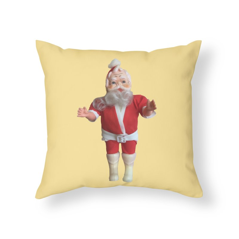 Creepy Thrift Store Santa Home Throw Pillow by Lili Valente Makes Stuff