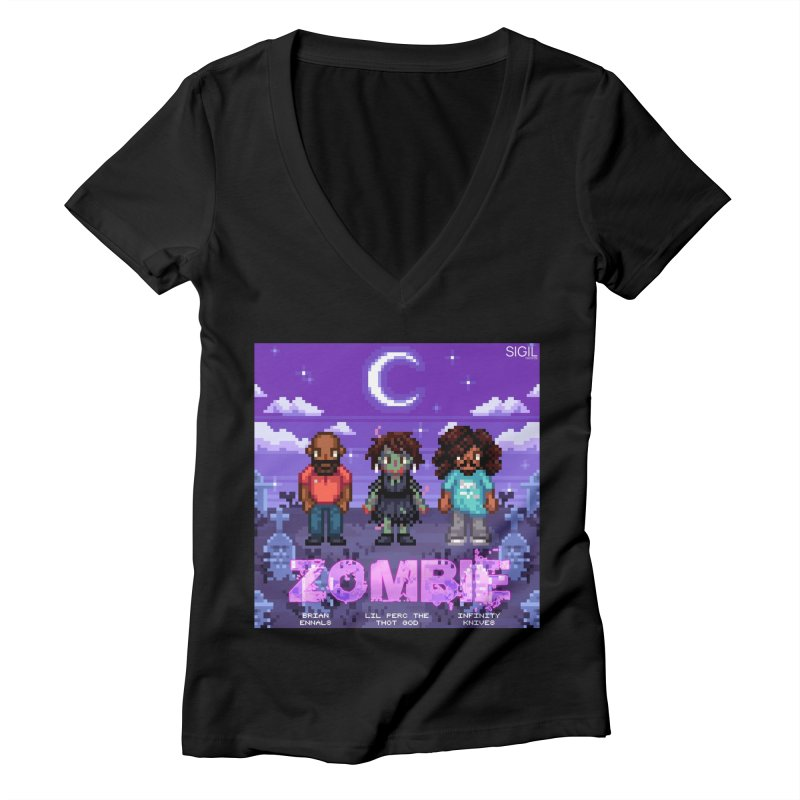 Zombie (Full) Women's Deep V-Neck V-Neck by lil merch