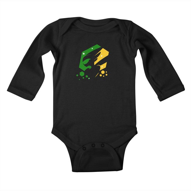KQB Logo: Brazil Kids Baby Longsleeve Bodysuit by Liquid Bit Artist Shop