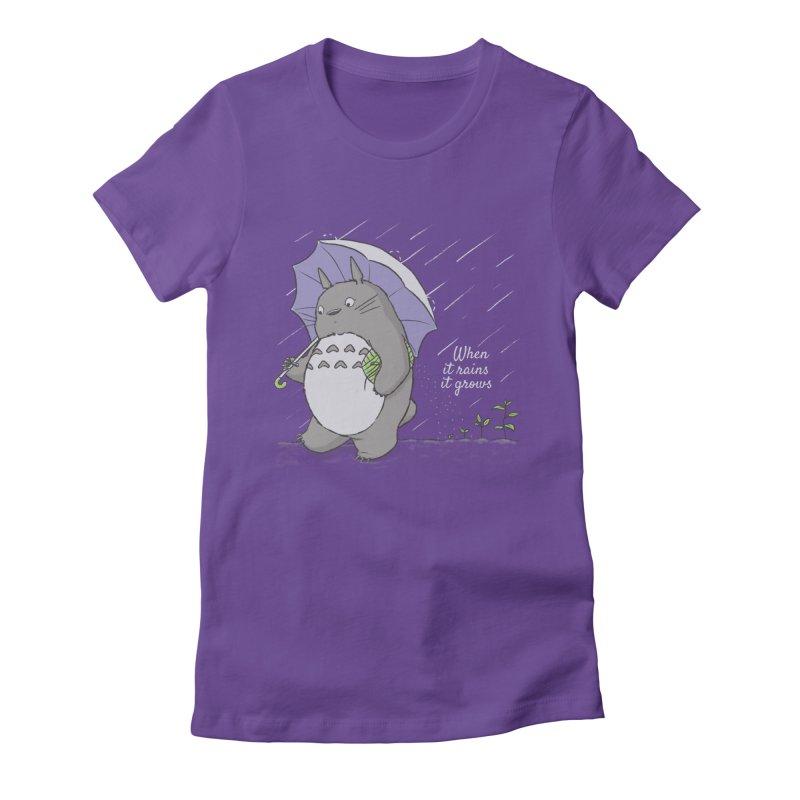 When it rains Women's Fitted T-Shirt by lirovi's Artist Shop