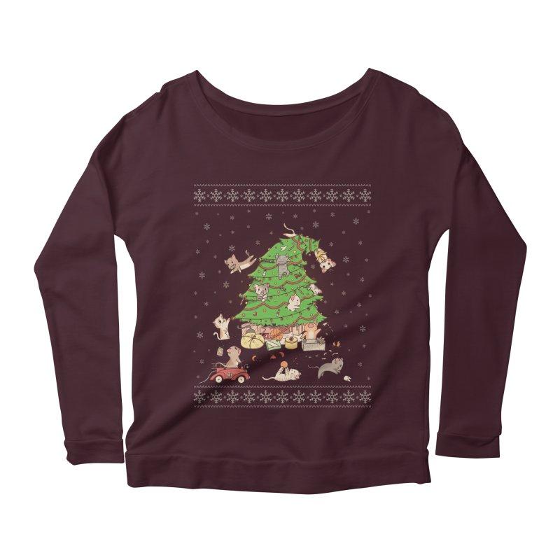 Meowi Christmas Women's Longsleeve Scoopneck  by lirovi's Artist Shop