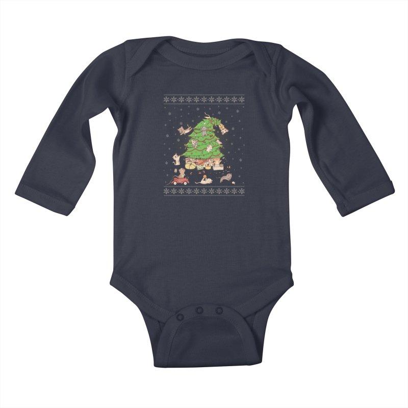 Meowi Christmas Kids Baby Longsleeve Bodysuit by lirovi's Artist Shop