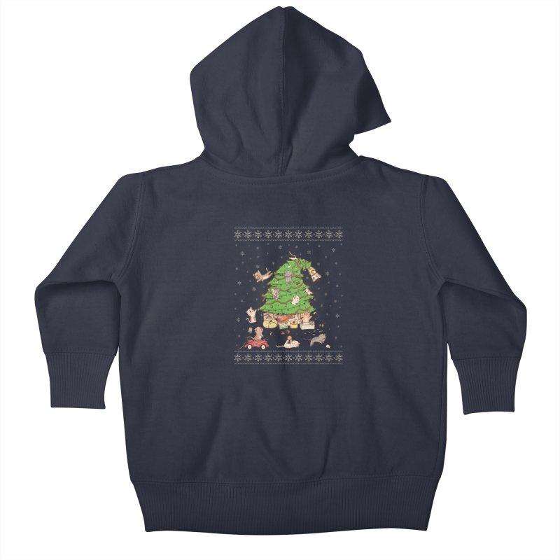 Meowi Christmas Kids Baby Zip-Up Hoody by lirovi's Artist Shop