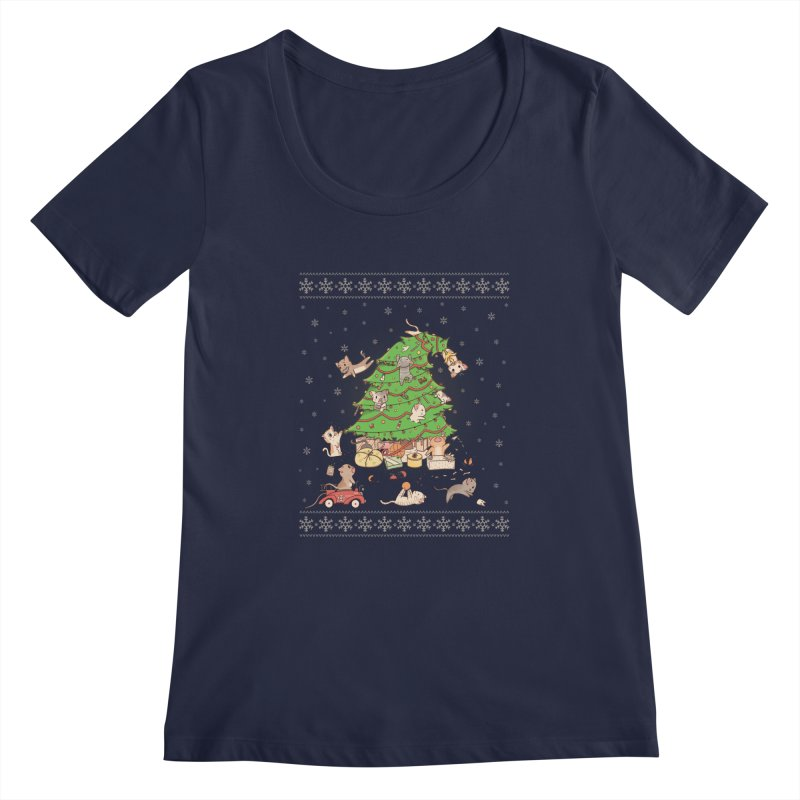 Meowi Christmas Women's Scoopneck by lirovi's Artist Shop