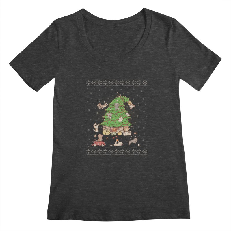 Meowi Christmas Women's Scoopneck by lirovi's Artist Shop