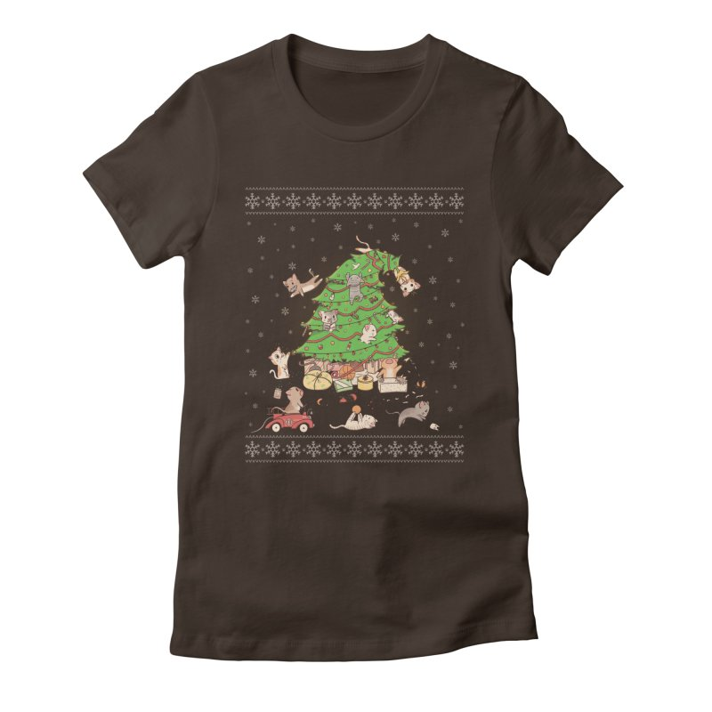 Meowi Christmas Women's Fitted T-Shirt by lirovi's Artist Shop