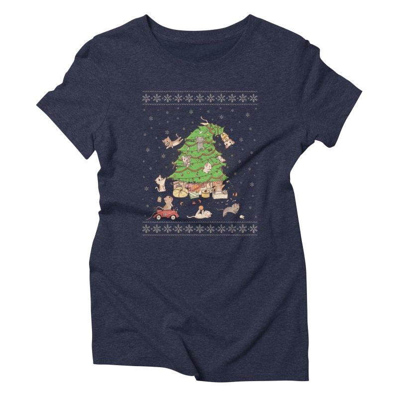 Meowi Christmas Women's Triblend T-shirt by lirovi's Artist Shop