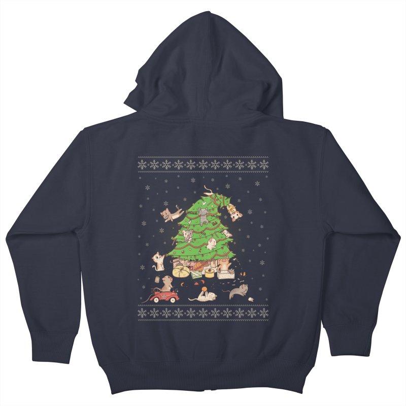 Meowi Christmas Kids Zip-Up Hoody by lirovi's Artist Shop
