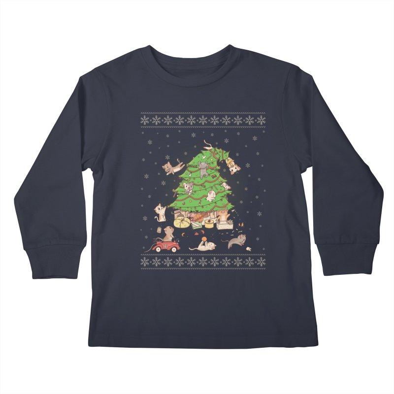 Meowi Christmas Kids Longsleeve T-Shirt by lirovi's Artist Shop