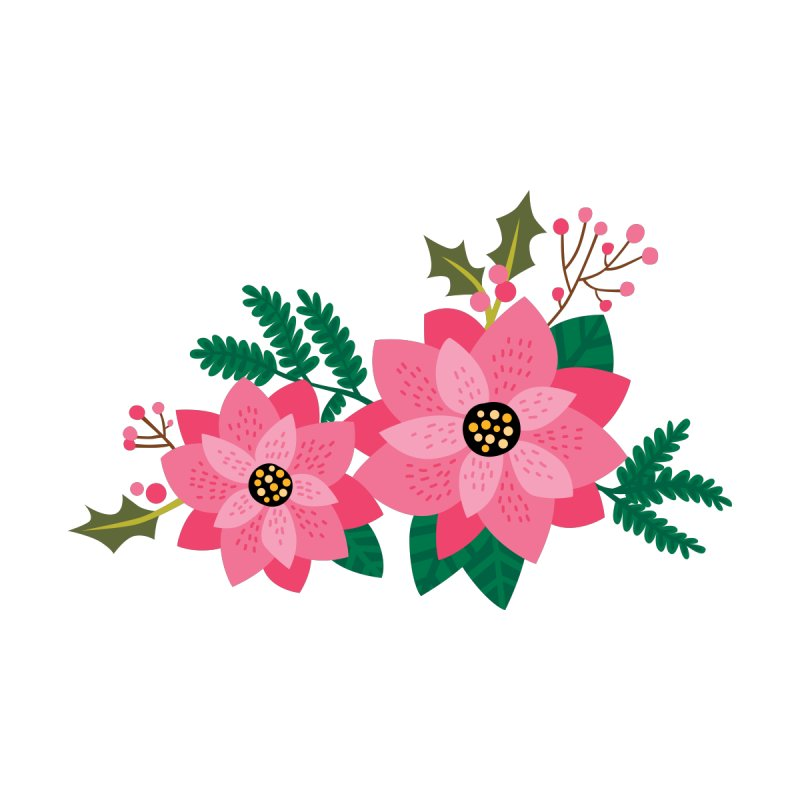 Pink Poinsettia Accessories Face Mask by Lisa Kubenez