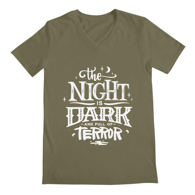 The Night Is Dark And Full Of Terrors Men's Regular V-Neck by Literary Swag