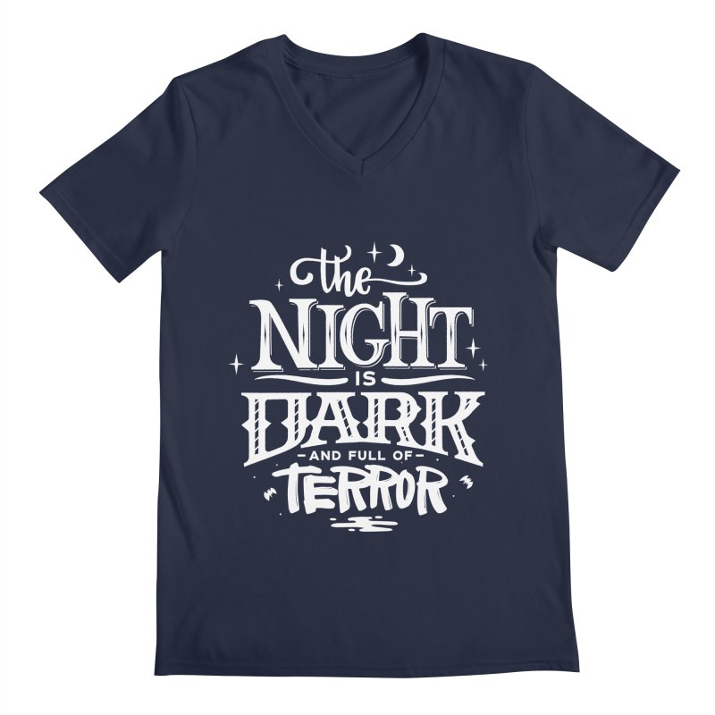 The Night Is Dark And Full Of Terrors Men's Regular V-Neck by Literary Swag