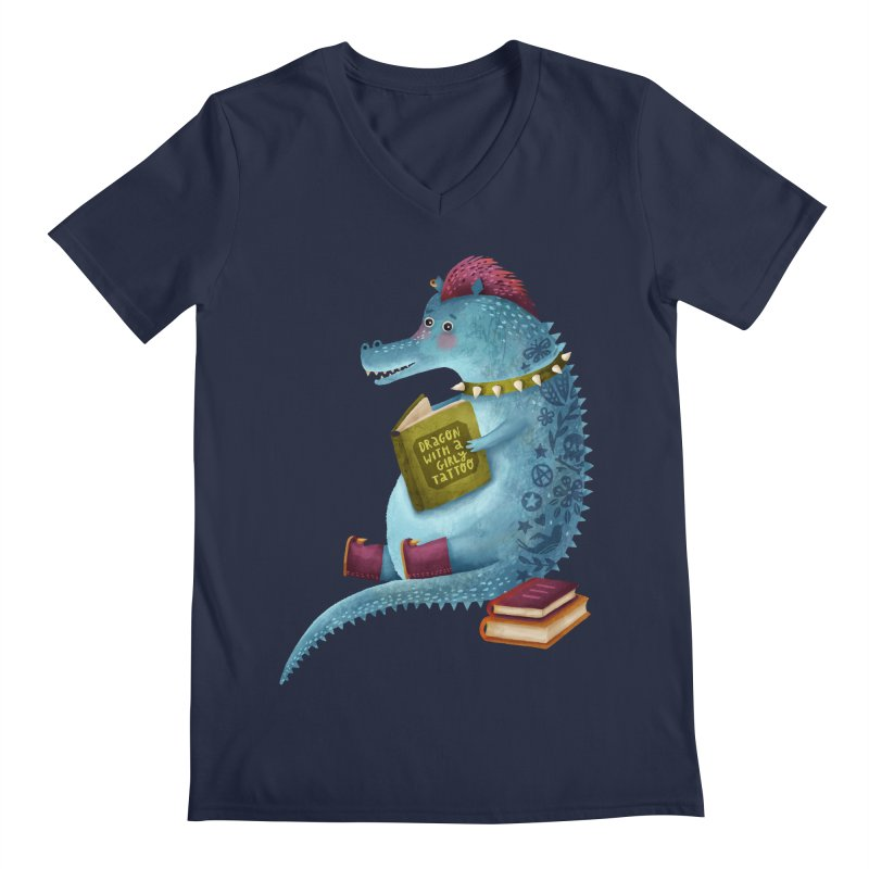 Dragon With The Girly Tattoo Men's V-Neck by Literary Swag