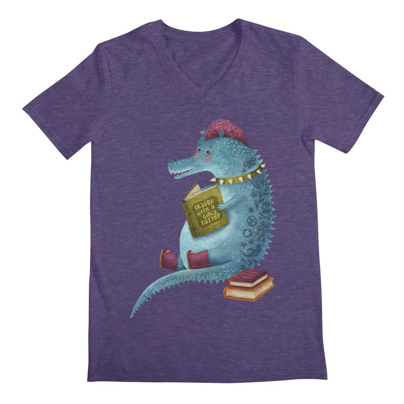 Dragon With The Girly Tattoo Men's Regular V-Neck by Literary Swag