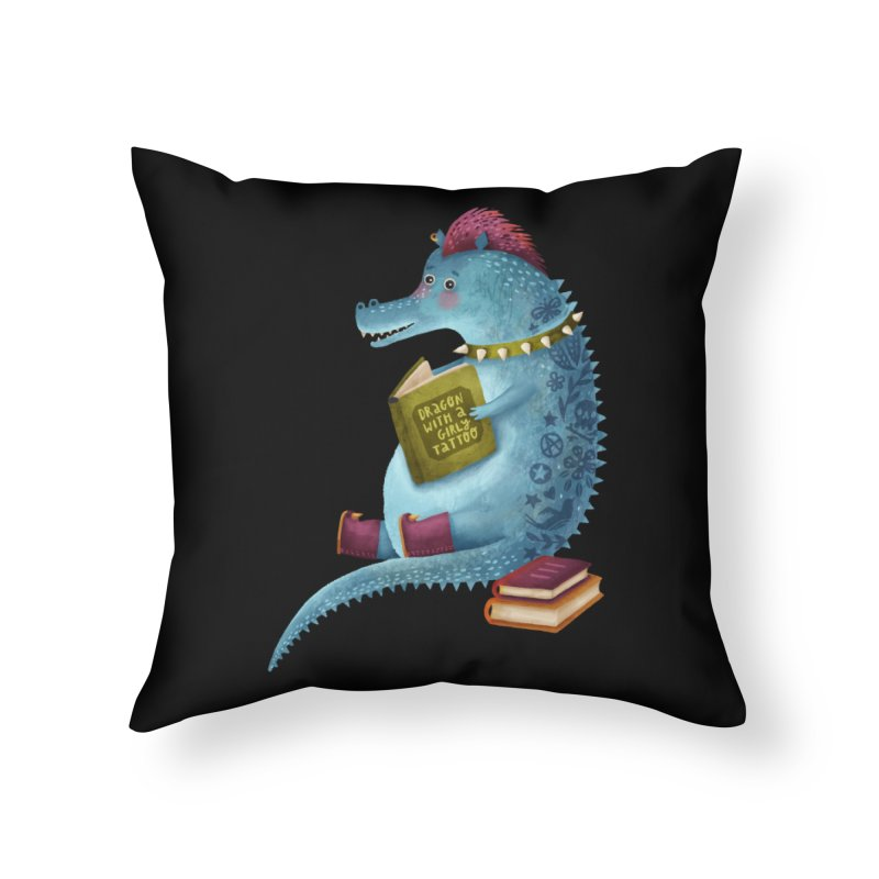 Dragon With The Girly Tattoo Home Throw Pillow by Literary Swag