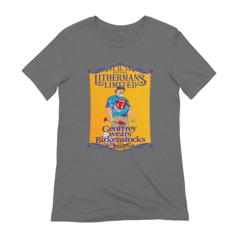 Geoffery Wears Birkenstocks Women's T-Shirt by Lithermans Limited Print Shop