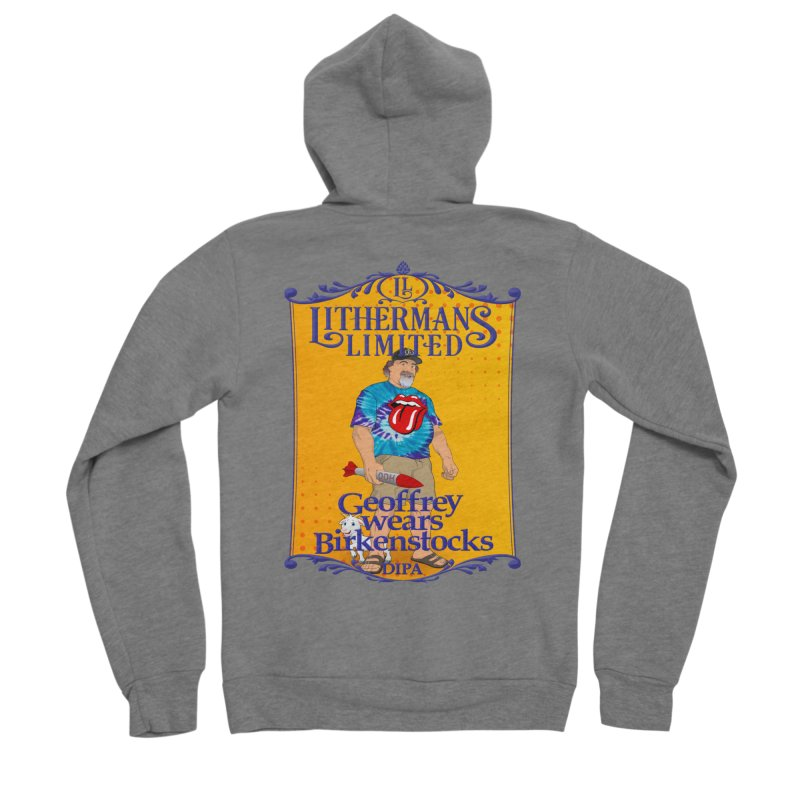 Geoffery Wears Birkenstocks Men's Sponge Fleece Zip-Up Hoody by Lithermans Limited Print Shop